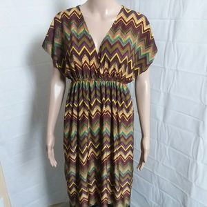 Cristina Love Multi-Color Print Chevron Dress